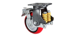 What spring is used for shock-absorbing caster wheel?